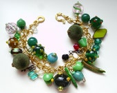 Forest Green - Gold Plated Dangle Charm Bracelet - Green Tones- OOAK Free Shipping