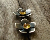 Flower Studs Citrine Cabochon 4mm gemstones oxidized sterling silver jewelry for her women girl cabochon fall earrings