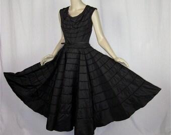 Vintage Early 50s Full Circle Skirt Black Party Dress, Sz S