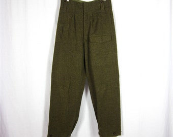Vintage Mens German Made Olive Wool Pants, Oktoberfest