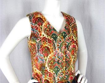 Vintage 60s Oktoberfest Rainbow Tapestry Vest, Sz S
