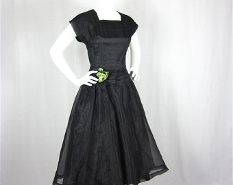 Vintage 50s Dress, Black Satin, Hourglass Shape, Sz S