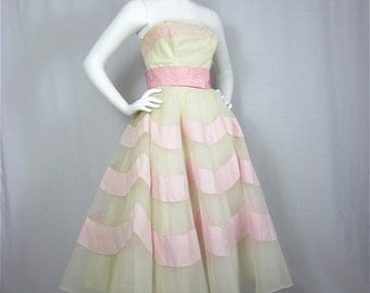 Vintage 1950s 60s Wedding Cake Party Dress, Sz S, M