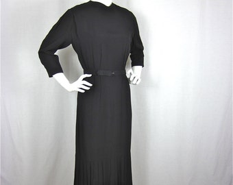 Vintage 1940s Elegant Black Dress, Sz S, M