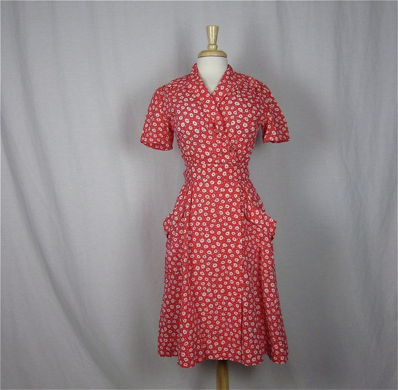 Vintage 1940&-39-s Red and White Wrap Dress Sz S by FireflyVintage