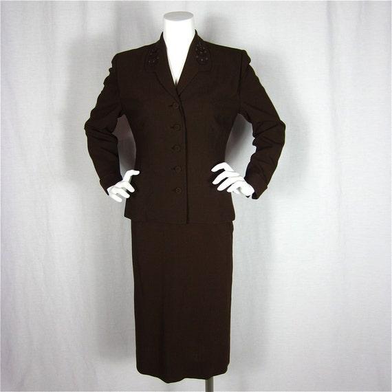 Classic Vintage 40s Cocoa Brown Wool Suit, Sz M