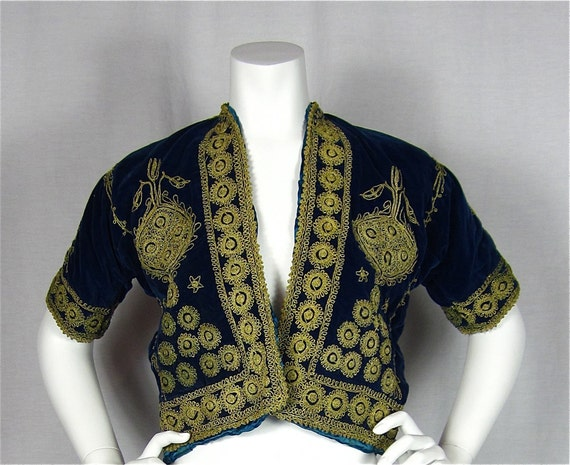 Vintage 50s Velvet Asian or Middle Eastern Jacket, Gold Embroidery, Sz S, M