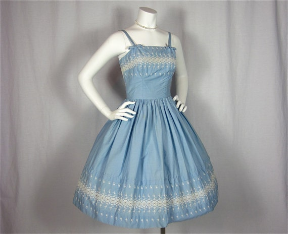 Vintage 60s Baby Blue Cotton Dress, Sz S, XS