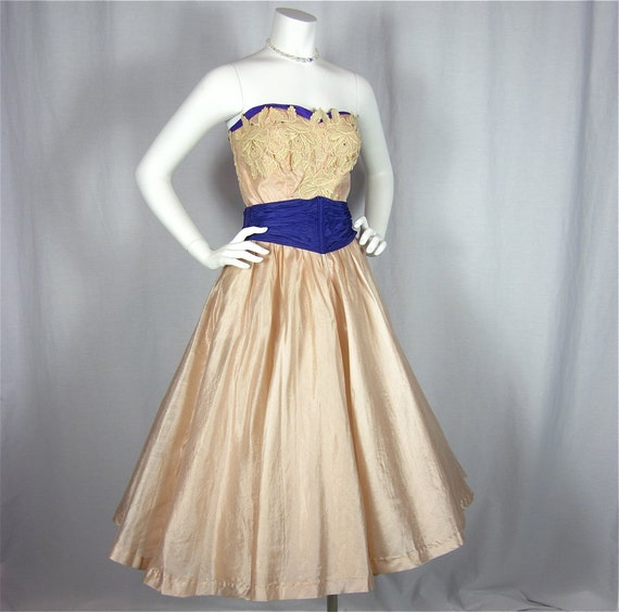 Vintage 50s Belle of the Ball Dress, Sz S