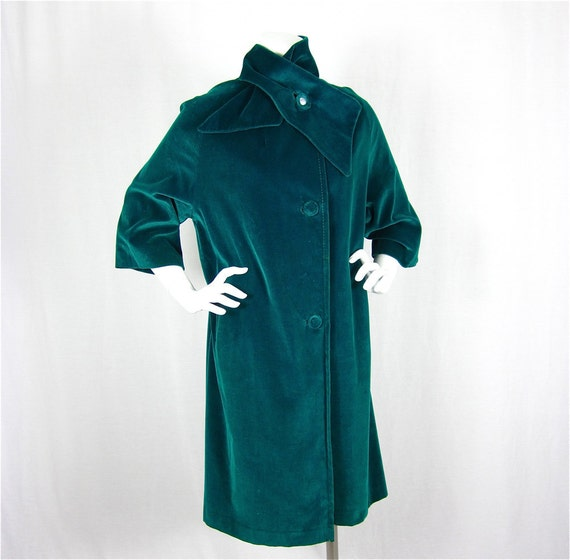 Vintage 50s 60s Emerald Green Velvet Winter Coat, Sz S, M
