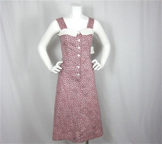 Vintage 40s 50s Cotton Summer Dress, Sz M
