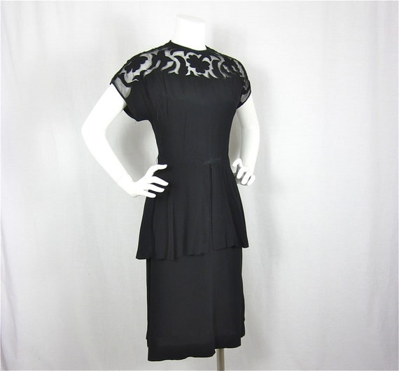 Vintage 40s Illusion Neckline Vamp Dress, Sz M