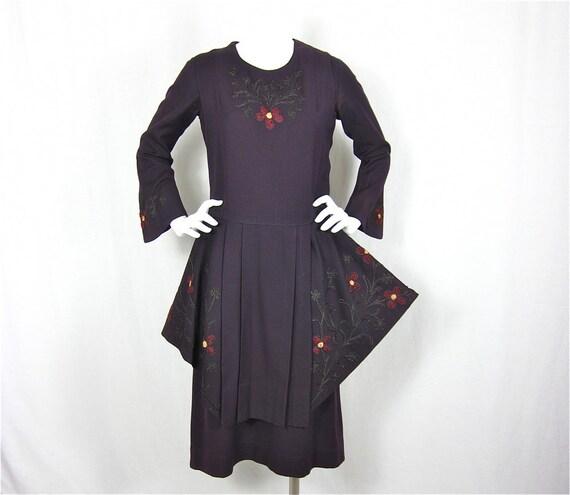 Vintage 1920's Sugarplum Dreams Wool Two Piece Dress, Sz S