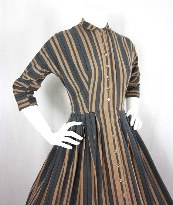 Vintage 1950s or 60s Mad Men Striped Cotton Dress, Sz S