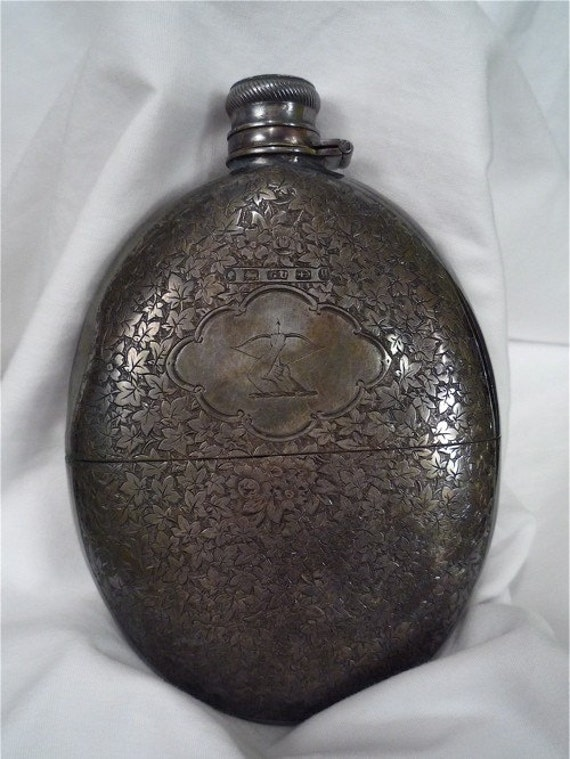 1800's Archer Silver Ladies Whisky Flask