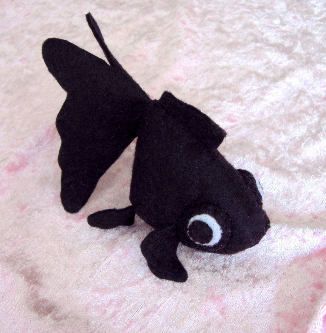 Black fish felt plush by feltcreations on etsy for Fish stuffed animal