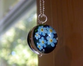 Silver Plated Forget Me Not Bubble Charm Ball Necklace