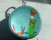 Le Petit Little Prince and Fox Bubble Charm with Vintage Back