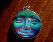 Seaview Blue Man in the Moon Face Silver Bubble Charm