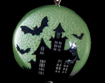 GLOW in the Dark Haunted House and Bats Silver Bubble Charm