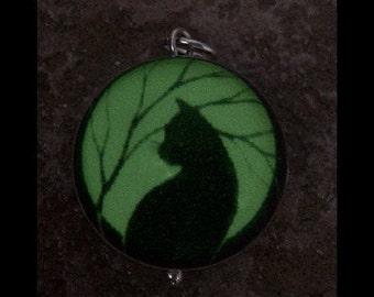 Black Cat Silver & Lucite Bubble Charm
