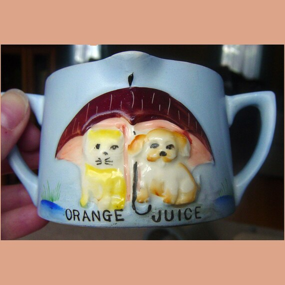 Vintage Orange Juice Cup Japan Raining Cats and Dogs