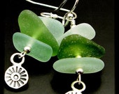 20% OFF EVERYTHING Natural Sea Glass, Sterling Silver Earrings