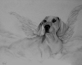 Dachshound Angel Print
