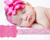 """Baby Girl Birth Announcement - Pink damask, DIGITAL FILE, 5""""x7"""""""