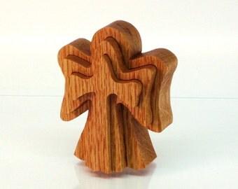 Angel Ornament Cross, Red Oak