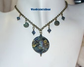 SALE---Montana Blue Antique Brass Pendant and Earrings