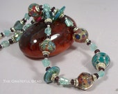 SALE---Lampwork, Apetite and Garnet Necklace and Earrings