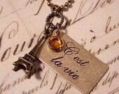 Eiffel Tower Paris France Golden Brass Charm Necklace on Antique Brass Chain