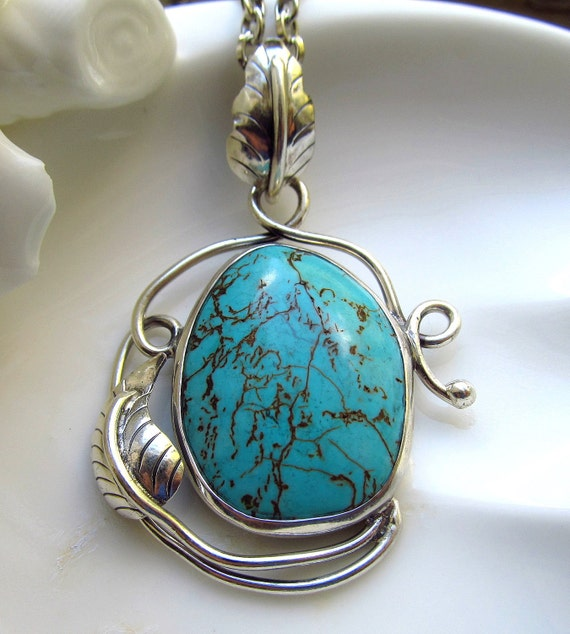 Large Turquoise Pendant Set in Sterling Silver on Antique Silver Chain