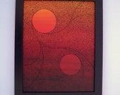 Binary Sunset Original Acrylic Painting - ellemardesigns