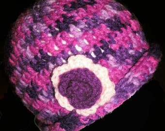 Pink Purple Variegated Cloche Cap with Flower