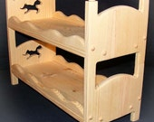 """American Girl Doll Stackable Bunk Bed with Horse 18"""" Doll Furniture with Scalloped Sides"""