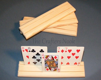 4 Playing Card Holders Rack Arthritis Help Rummy Bridge Canasta Uno Spades Rook - Great Stocking Stuffers