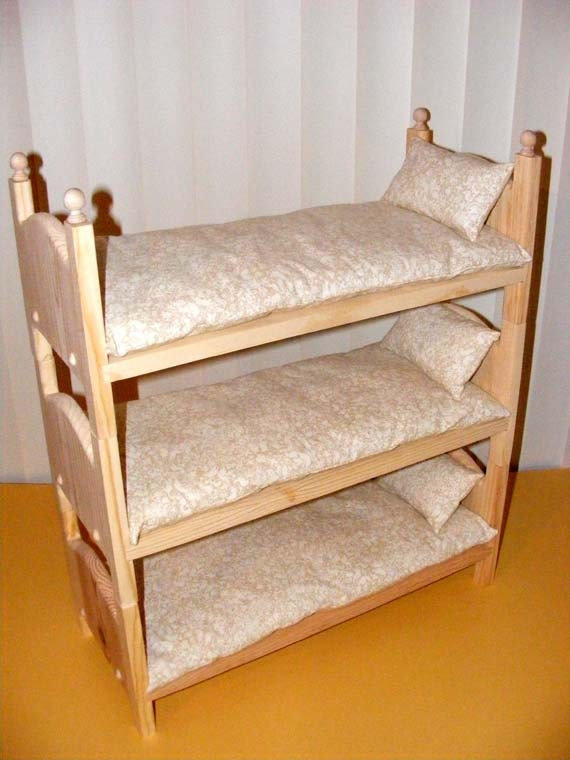 Handmade Stackable Triple Doll Bunk Bed with by Acraftersnook