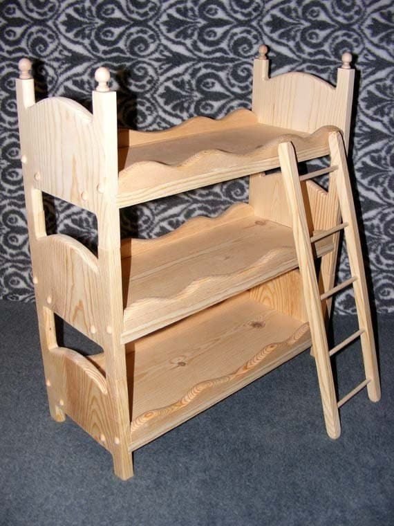 Stackable Triple Doll Bed Bunk Bed With Scalloped Sides And