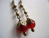 Carnelian and Antiqued Brass earrings