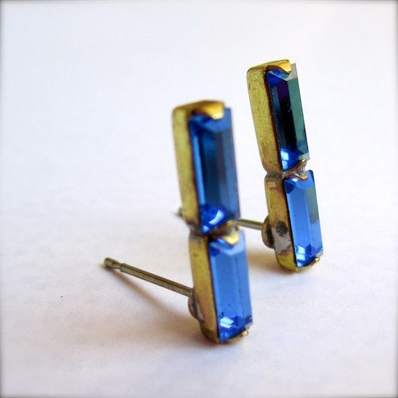 Vintage Sapphire Stud Earrings