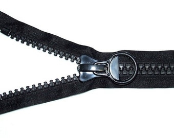 20 inches - EXTRA-LARGE Zipper in BLACK - closed-end style with oversized molded no.20 teeth