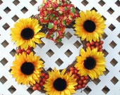 Sunflower Grapevine Wreath - Spring Wreath - Summer Wreath - Sunflower Wreath - Door Wreath - Spring Floral Wreath - Spring Door Wreath