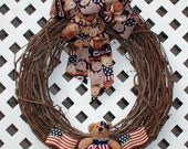 Patriotic Wreath - Spring Wreath - Summer Wreath - Teddy Bear Wreath - Grapevine Wreath - Spring Door Wreath - Summer Door Wreath - Wreath
