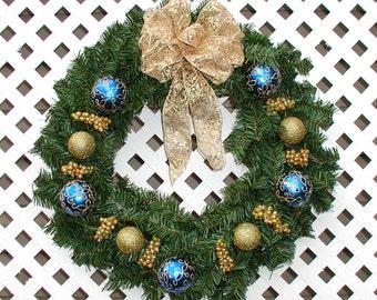 Blue and Gold Christmas Wreath - Christmas Pine Wreath - Christmas Door Wreath - Holiday Wreath - Christmas Wreath - Holiday Door Wreath