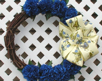 Spring Wreath - Butterfly Wreath - Blue Carnations Wreath - Summer Wreath - Floral Wreath - Grapevine Wreath - Spring Door Wreath - Wreath