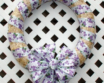 Spring Wreath - Summer Wreath - Straw Wreath - Floral Wreath - Door Wreath - Floral Spring Wreath - Floral Summer Wreath - Purple Wreath