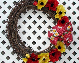Red and Yellow Poppy Floral Wreath - Spring Wreath - Summer Wreath - Poppy Wreath - Floral Wreath - Door Wreath - Fall Door Wreath - Wreath