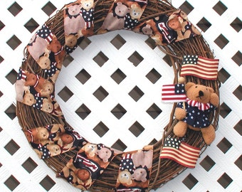 Patriotic Teddy Bear Wreath - Patriotic Wreath - Spring Wreath - Summer Wreath - Teddy Bear Wreath - Door Wreath - Grapevine Wreath - Wreath